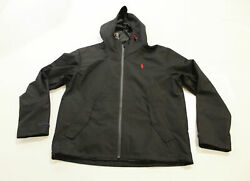 Polo Menand039s Hooded Zip Water-repellent Jacket Mp7 Black Medium