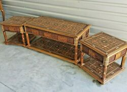 3pc Moroccan Style Wood Coffee And End Tables Mosaic Mother Of Pearl Inlaid
