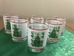 Beautiful Christmas Green Red White Tree Drinking Glasses Set of 6
