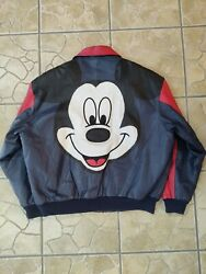 Vintage 90s Mickey Mouse Disney Embroidered Leather Jacket Size Xl Great Conditi