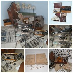 Antique Medical Surgical Ww2 German Set Lot Field Gear Military Dentist Rare