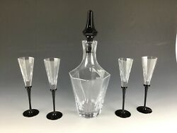 Vintage Crystal Decanter With 4 Glasses