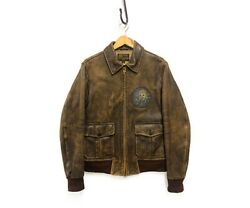 Rrl Type A-1 Leather Flight Jacket With Custom Double Zip Brown Size S Japan