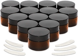 Round Amber Glass Jars With Lids For Cosmetics 1 Oz 14 Pack And 2 X 1.5 Inches