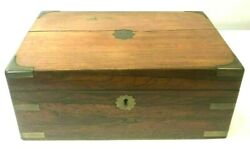 Exquisite Antique Early Writing Slope Desk Box Leather Writing Area Wood Brass