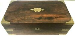 Rustic Antique Early Writing Slope Desk Box Wood Brass Handles 18 X 9.5 X 7