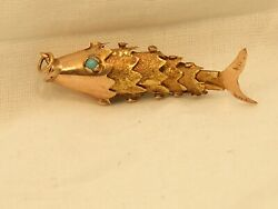 Vintage 14k Rose Gold Articulated Moveable Fish Pendant With Turquoise Eyes