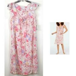 Miss Elaine Flutter Sleeve Floral Print Short Nightgown Blush Ch Size New Pajama