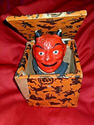 Halloween Antique Jack In The Box Red Devil Orange And Black Wood Box 1920 1930
