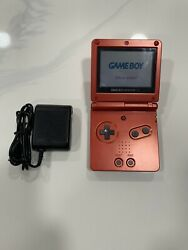 Nintendo Game Boy Advance Sp Flame Red W/charger Tested/works Great Read Info