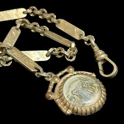 Vintage Pocket Watch Chain With Stamped Links And Landing Of Columbus Fob
