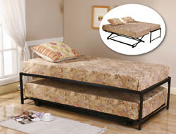 Black Metal Twin Size Hirise Day Bed Daybed Frame And Pop Up Trundle New