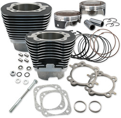 S And S Cycle 910-0324 4-1/8 Bore Cylinders With Piston Kit Black
