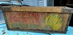 Vintage Pacific Fruit And Produce Co. Rapid City, S.d. Wood Delivery Box With Ha