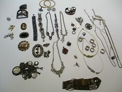 Vintage Jewelry Necklace Lot Sterling Silver Pendants Ring 925 Costume Buckle
