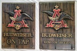 Set Of 2 Vintage Budweiser Beer On Tap Signs 3-d Wall Tackers Anheuser-busch