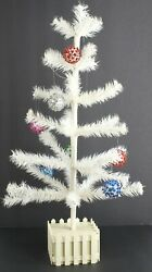 Vintage White Christmas Tree Feather Look With Picket Fence Base 22 Tall
