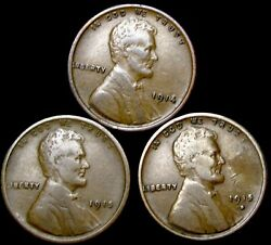 1914 1915 1915-d Lincoln Cent Wheat Penny ---- Nice Condition Lot ---- W430