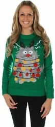 Tipsy Elves Funny Cat Ugly Christmas Sweater For Women And Crazy Cat Ladies - Fu