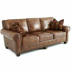 Sanremo Top Grain Leather Sofa With Nail Head Trim And Two Brown Transitional S