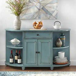 Retro Blue Buffet Sideboard Vintage Style Wood Cabinet Sofa Accent Table Shelves