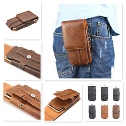 New Button Belt Holster Magnetic Flip Leather Pouch Case Cover For Moto Mobile