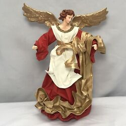 Vintage 1960's Angel Christmas Tree Topper Italy Paper Mache 10 Hand Painted