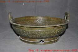 12old China Bronze Ware Dragon Totem Text Inscription Tableware Plate Dish Tray