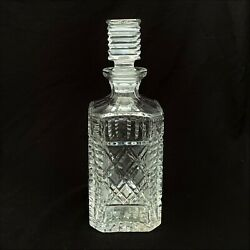 Vintage Waterford Crystal Ornate Square Decanter - Made In Ireland