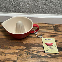 LE CREUSET Stoneware Citrus Juicer Red Tan New w Tags