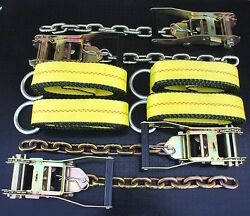 4x Chain Ratchet And 12' Lasso Strap Tow Truck Flatbed Wrecker Car Hauler Tie Down
