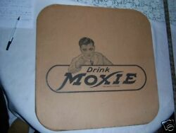 2 Antique Vintage Moxie Fountain Soda Cardboard Table Mat Tray Art Sign Cover