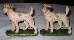 HUBLEY AIREDALE DOG ART STATUE SCULPTURE BOOKENDS CAST IRON TERRIER BOOK END