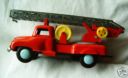 Very Old Metal Tin Toy Model Car Fire Truck Ussr , 1940s With Mechanism