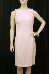 90-s Vintage Gianni Versace Couture Nude Pink Peach Floral Dress 40