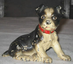 ANTIQUE US HUBLEY BOSTON TERRIER DOG ART HOME STATUE DOORSTOP CAST IRON DOORSTOP