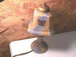 Antique Reverse Painted Glass Butterfly Table Lamp