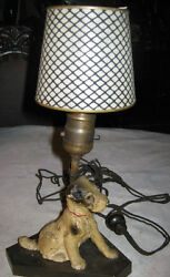 ANTIQUE HUBLEY CAST IRON AIREDALE TERRIER DOG DOORSTOP ART STATUE LAMP w SHADE