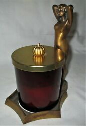 Antique Sign Bronze Nude Lady Art Deco Statue Candle Stick Glass Jar Tray Holder