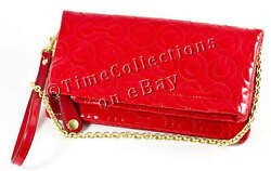 NEW RED PATENT SIGNATURE COACH CLUTCH WRISTLET BAG