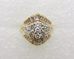 14k Yellow Gold Vintage Diamond Cluster Ring - Size 6 - Appraised - Lb1506