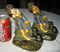 Antique Armor Bronze Girl Dog Art Sculpture Statue Baby Deco Bookends Hubley Toy