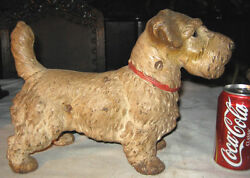 ANTIQUE HUBLEY CAST IRON SEALYHAM TERRIER DOG GARDEN HOME ART STATUE DOORSTOP