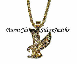 14K Gold Overlay DC Small Bald Eagle Pendant 20quot; Chain Included