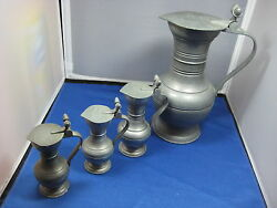 4 Antique German Engraved Pewter Pitchers/flasks 10high Big One Collectible