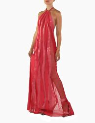 FW 2000 VINTAGE GIANNI VERSACE COUTURE PINK SILK LACE & SNAKESKIN DRESS GOWN