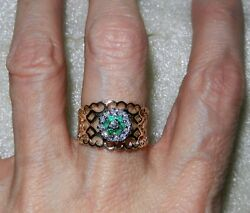 Vintage 14k Yellow Gold Emerald Diamond Wide Band Ring - Size 5.25 - Lb1847