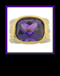 Ladies 18k Yellow Gold Checkerboard Amethyst And Diamond Dinner Ring