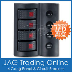 4 Gang Deluxe Led Rocker Waterproof Switch Panel And Circuit Breakers -boat/marine