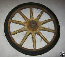 Antique Country Wood Cast Iron Farm Baby Toy Buggy Carriage Wheel Horse Cow Art
